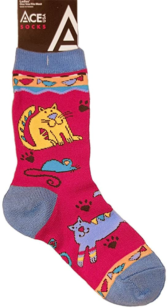 Ace USA Crazy Cats Kitty Pawprint Cat and Mouse Socks Womens Size 8-11