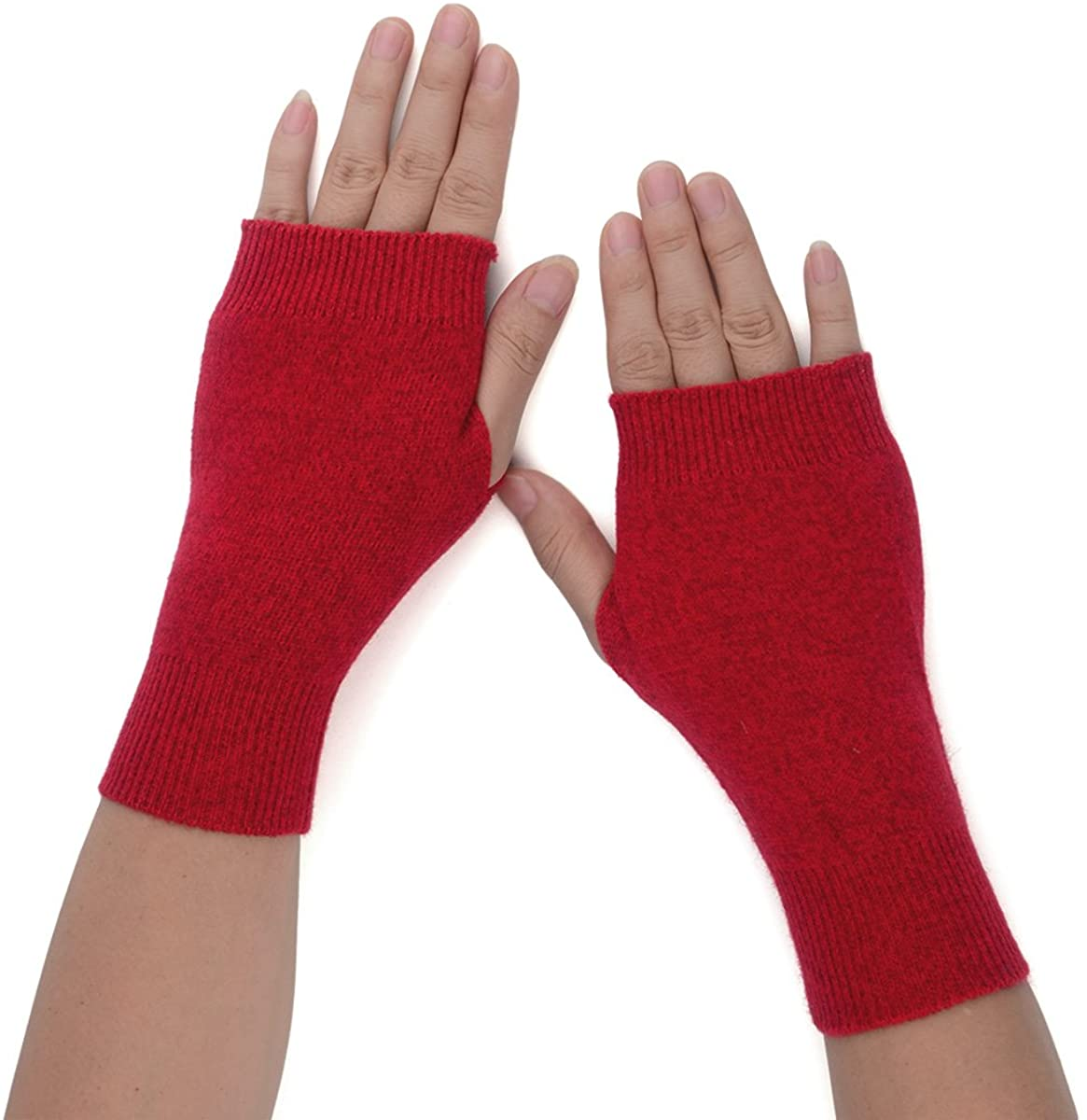 Flammi Women's Knit Fingerless Gloves Cashmere Mittens Warm Thumb Hole Gloves