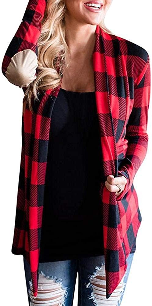 Zeious Plaid Cardigan, Women Sexy Open Cape Casual Coat Grid Loose Blouse Kimono Jacket