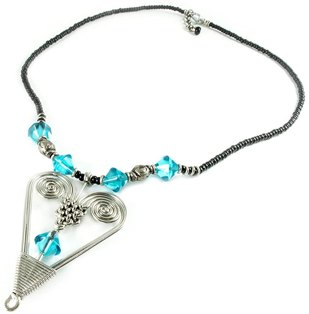 Maisha Fair Trade Strand Necklace, Silver Heart and Tourquoise Glass Bead