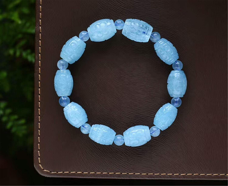 Genuine Natural Blue Aquamarine Gemstone Barrel Crystal Bead Woman Stretch Bracelet AAAAA