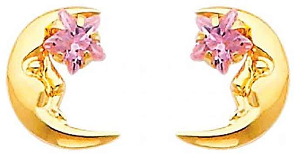 Women's 14k Yellow Gold Moon Pink CZ Stud Earrings Screw Back (0.39 in x 0.27 in)