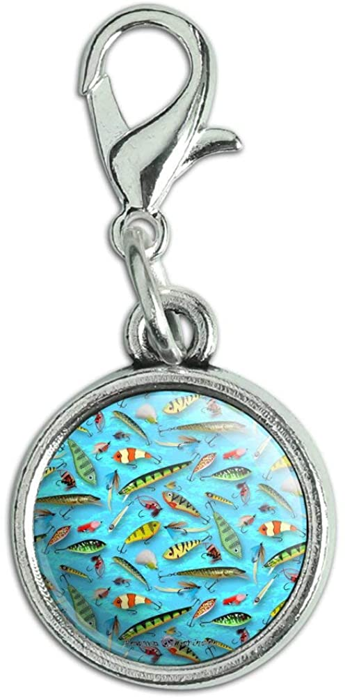 GRAPHICS & MORE Fishing Flies Lures Fish Pattern Antiqued Bracelet Pendant Zipper Pull Charm with Lobster Clasp