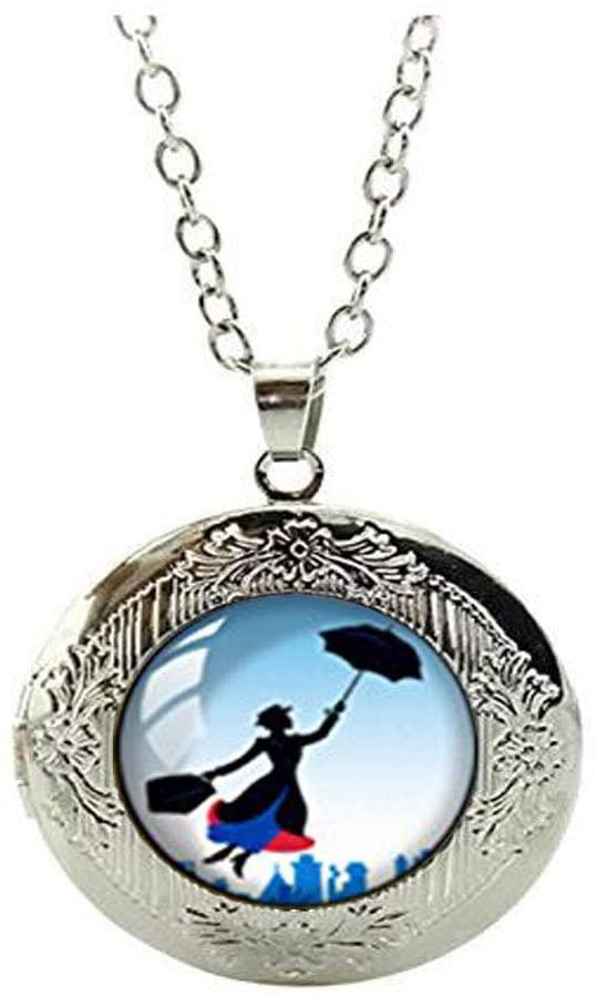 Retro Handmade Glass Dome Stud Locket Necklace, Mary Poppins Locket Necklace