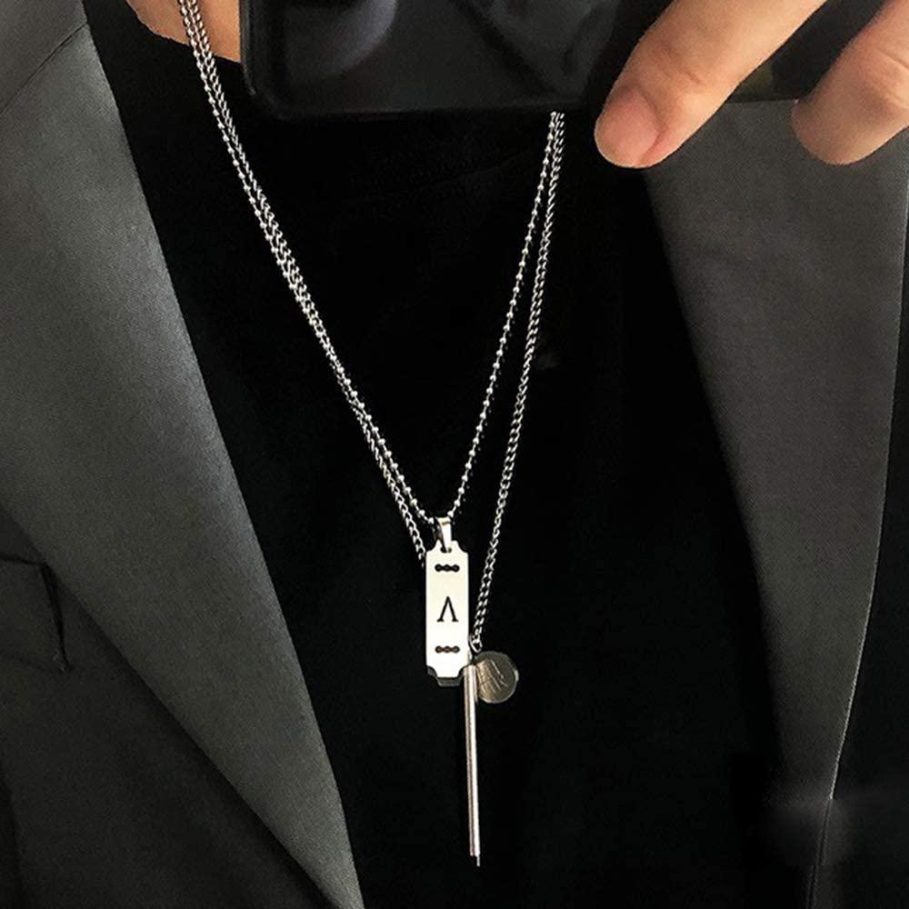 YERTTER Dainty Unique Punk Steel Layering Chain Coin Pendant Choker Necklace Boho Jewelry Set Layered Pendant Statement Chunky Chain Necklace for Women Man