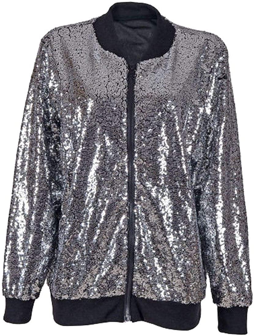 REAL LIFE FASHION LTD Womens Sequin Glitter Dance Party Coat Ladies Long Sleeve Biker Bomber Jacket