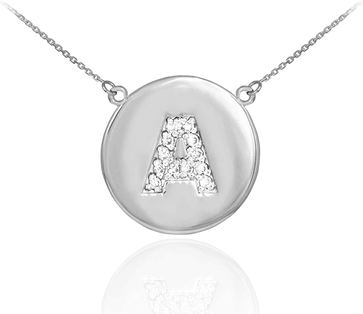 Double-Mounted 14k White Gold Diamond Initial Letter A-Z Disc Necklace