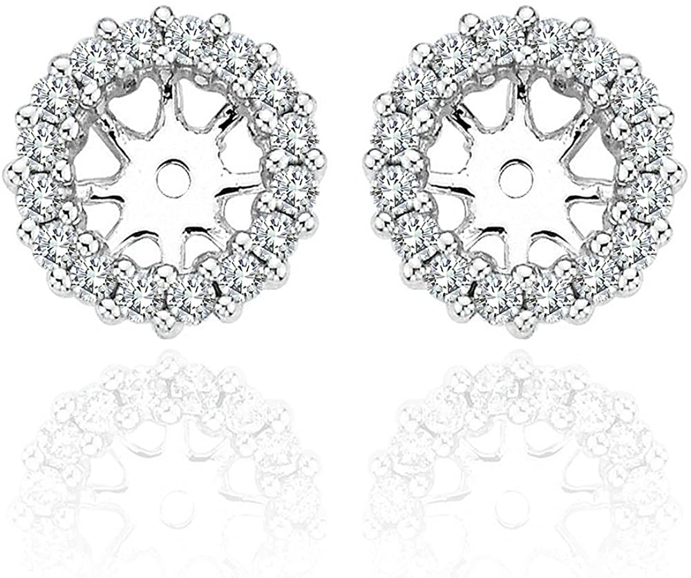 0.72 Carat White Diamond Earrings Jackets For 8.70 MM(5.00 Carat Total Weight) 14K White Gold Halo Stud Solitaire
