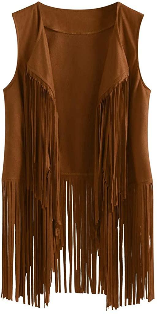 Women's Faux Suede Ethnic Sleeveless Tassels Fringed Vest Open Front Cardigan