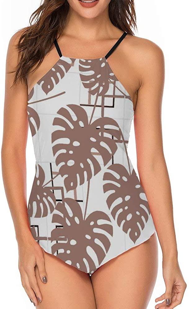 Women's Sport One Piece Swimsuit Racerback Athletic Pro Swimwear Palm Leaf