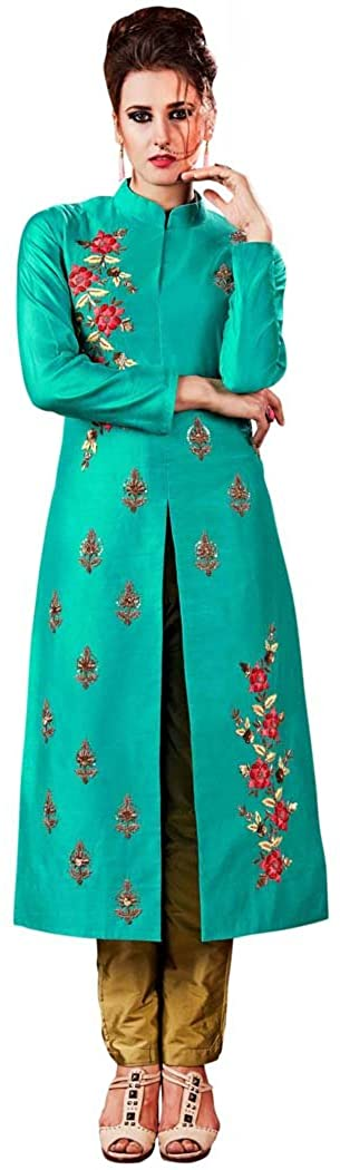 INMONARCH Womens Teal and Golden Embroidered Salwar Kameez SLRD11004A