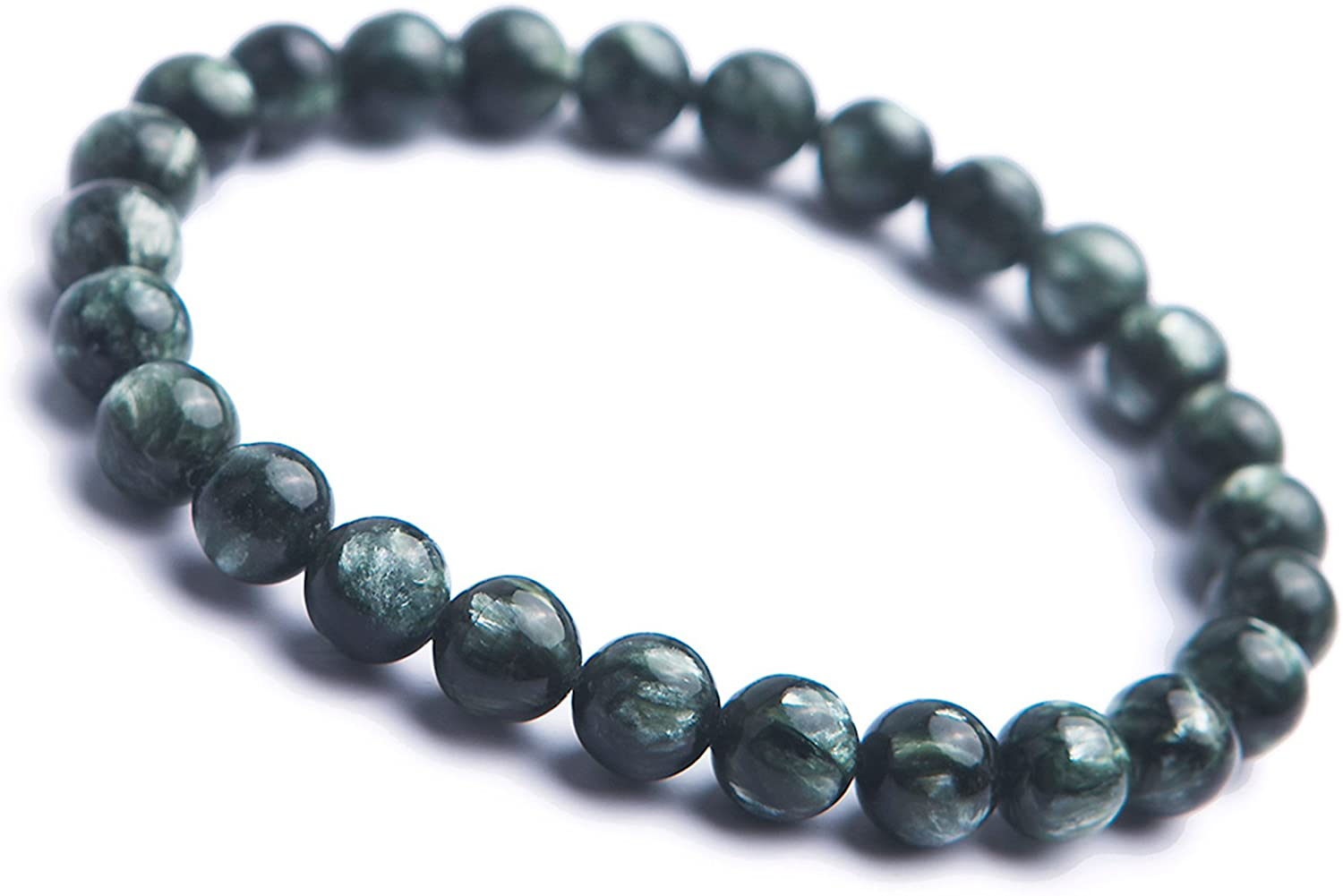 Genuine Green Natural Seraphinite Gemstone Round Bead Stretch Bracelet 7mm