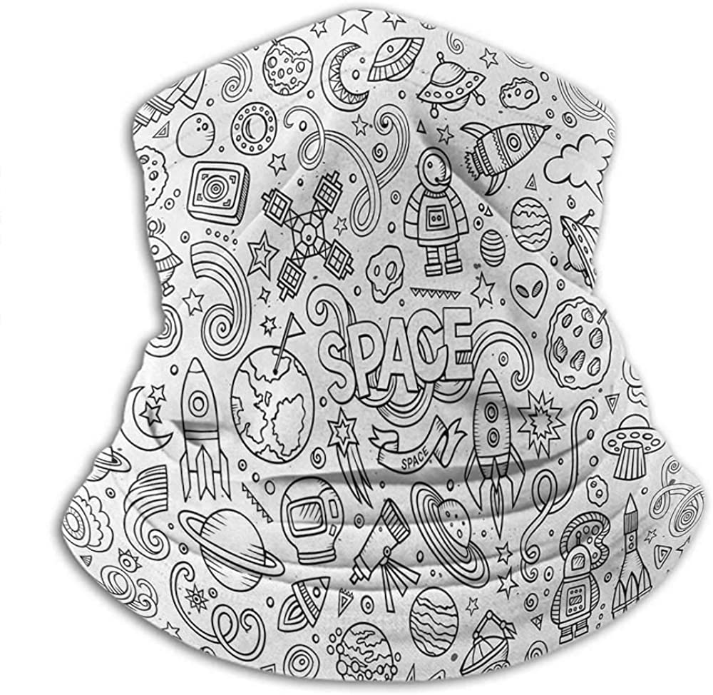 Scarfs For Women Boys Headwear Neck Warmer Motorcycle Astro Sketch Abstract Planets in Doodle Drawing Style Childrens Cartoon Composition Black White