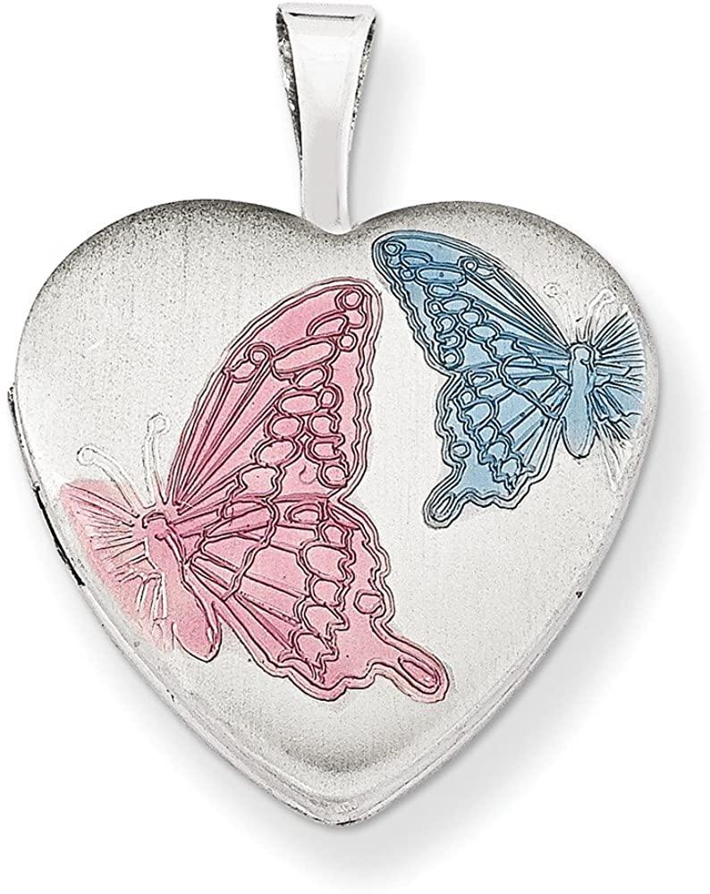Jewelry Pendants & Charms Lockets Sterling Silver Rhodium-plated 16mm Enameled Butterfly Heart Locket