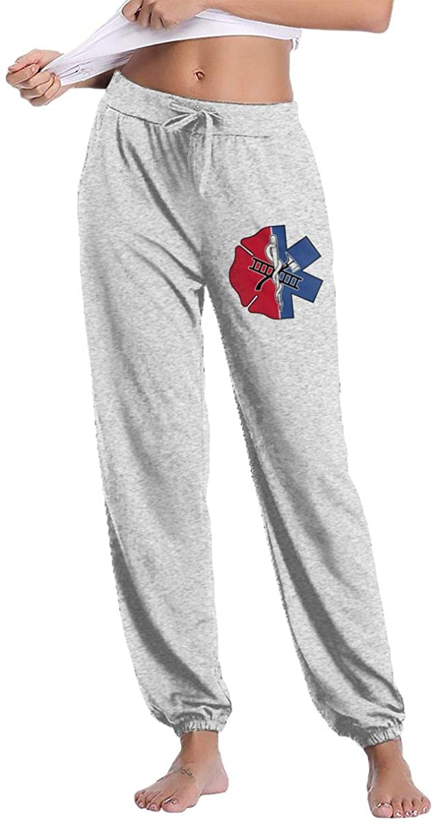 Fire Station Star of Life Badge Women's Casual Sweatpants Fitness Training Jogger Pant
