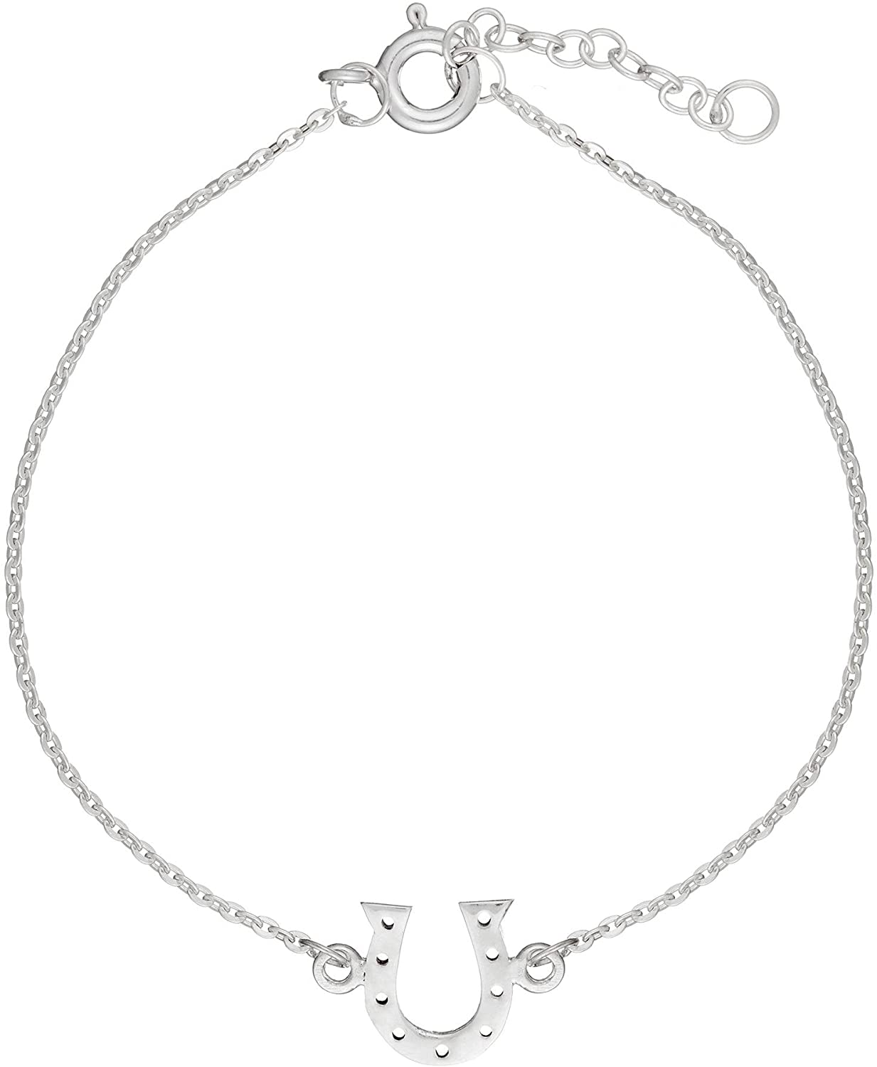 Silverly Women's .925 Sterling Silver Horseshoe Good Luck Charm Chain Bracelet, 6 + 1