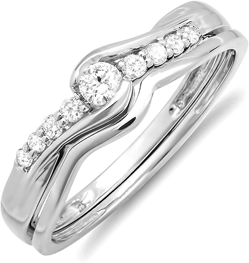 Dazzlingrock Collection 0.25 Carat (ctw) 18k Round Diamond Ladies Bridal Promise Wedding Set Ring with Matching Band, White Gold