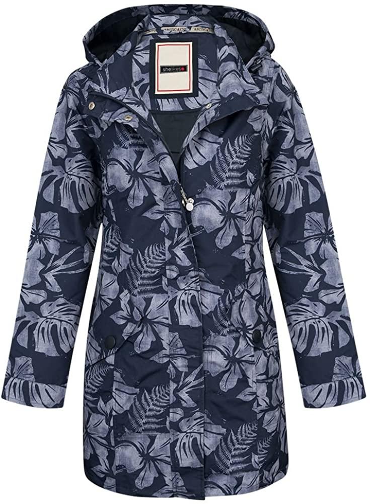 shelikes New Womens Lined Floral Hooded Coat Ladies Showerproof Jacket Mac 10-18