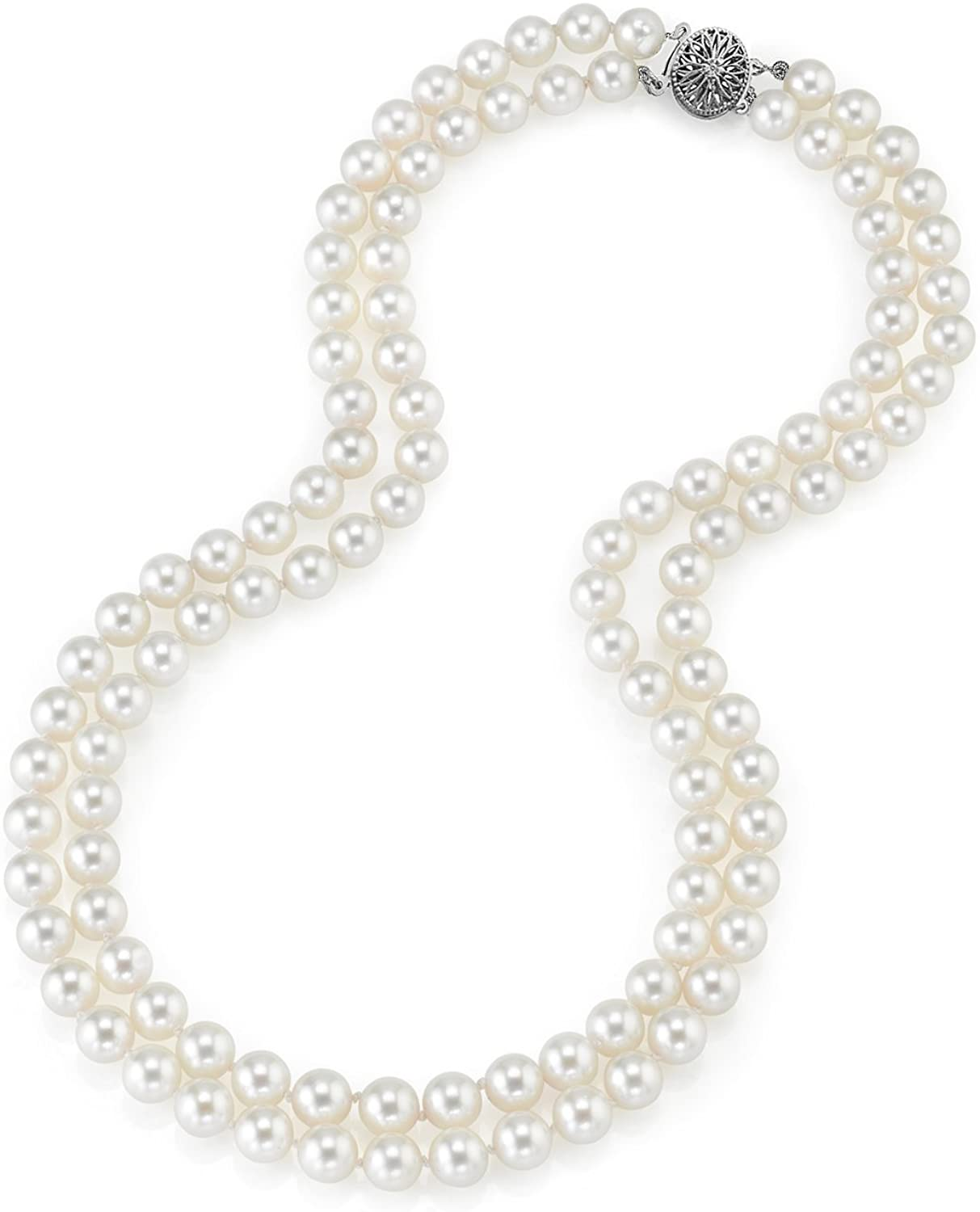 THE PEARL SOURCE 14K Gold 8.0-8.5mm AAA Quality Round Genuine White Double Japanese Akoya Saltwater Cultured Pearl Necklace in 17-18