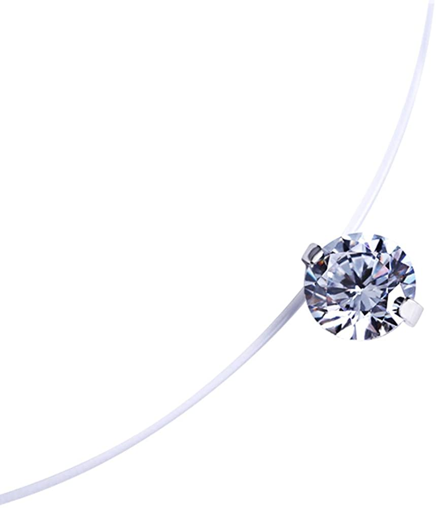 Fashion 0.8cm Zircon Pendant Necklace Invisible Fishing Line Necklace for Women Jewelry Decoration by Tinksky