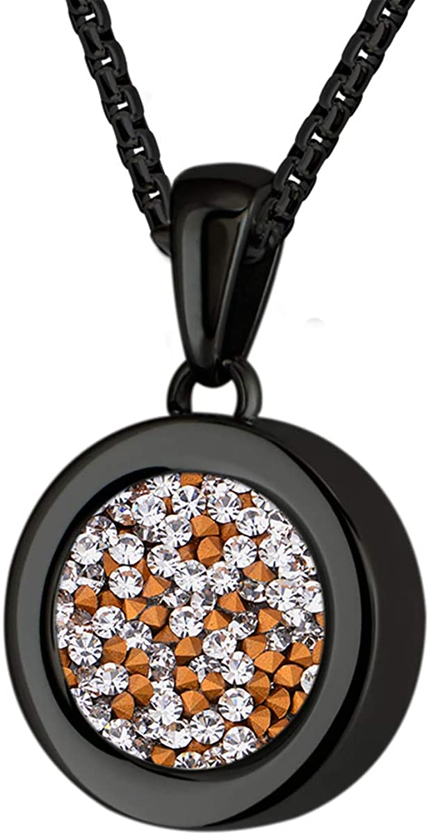 Quiges Locket with Box Chain Necklace 16.5'' Made of Black Plated Stainless Steel and Multi Coloured Coins for Women