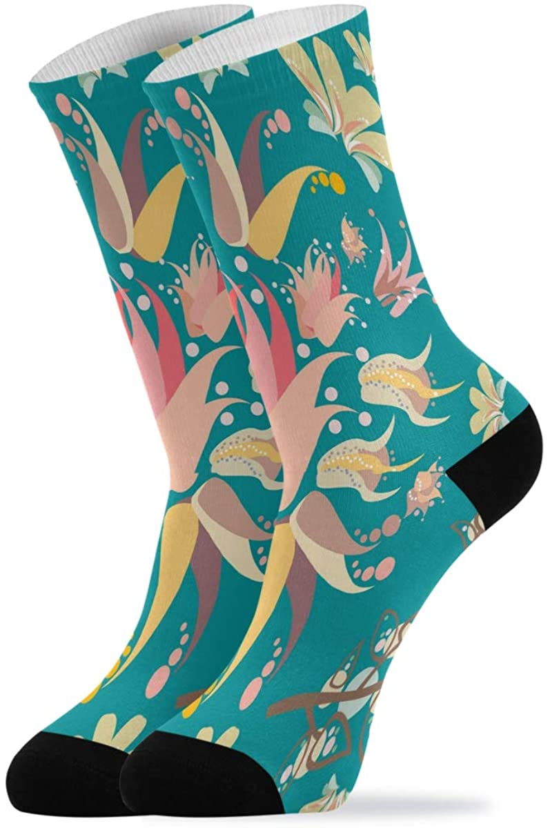 Novelty Socks For Women Lily Floral Flowers Turquoise Quarter Crew Socks Mid Calf Socks Men