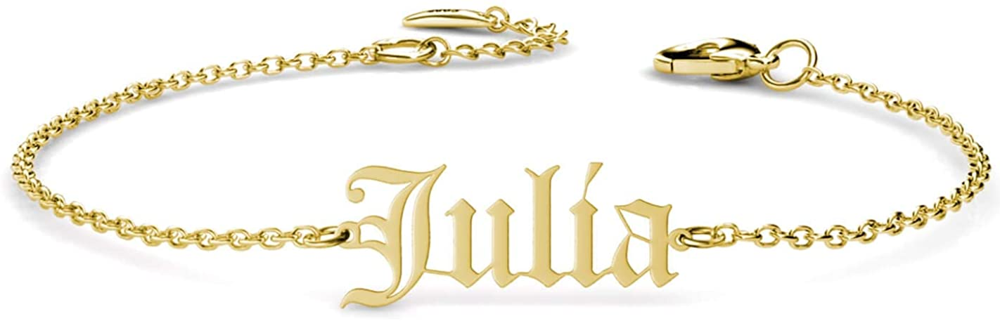 Old English Style Gothic Name Anklet Letters Numbers Year Personalized Custom Case Style