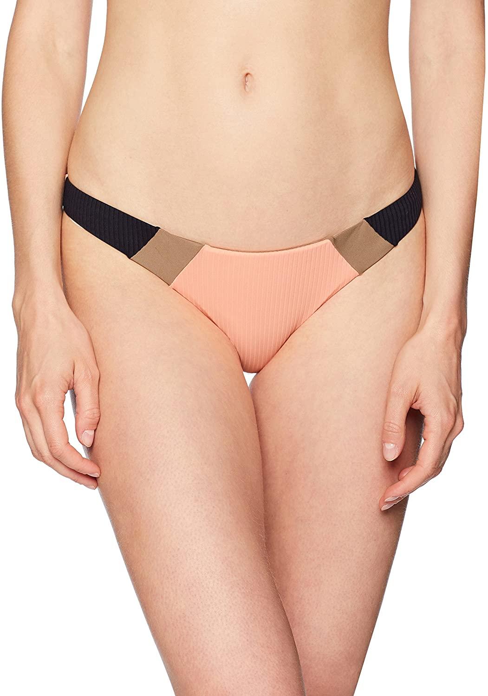 PilyQ Women's Tan Ribbed Color Block Bikini Bottom Teeny Swimsuit