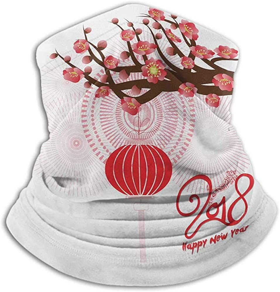 Face Cover Chinese New Year Fishing Neck Gaiter Sun Protection Blossoming Cherry Branch and Lantern with Happy Wish Brown Scarlet and Dark Coral