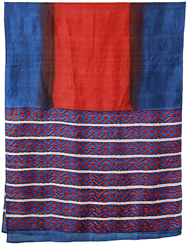 NOVICA Multicolor 100% Silk Shawl, Bengali Festival in Cinnabar
