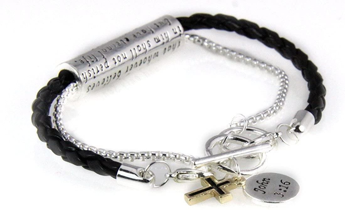 4030547 John 3:16 Charm Christian Stretch Bracelet Jesus Religious Christ Bible