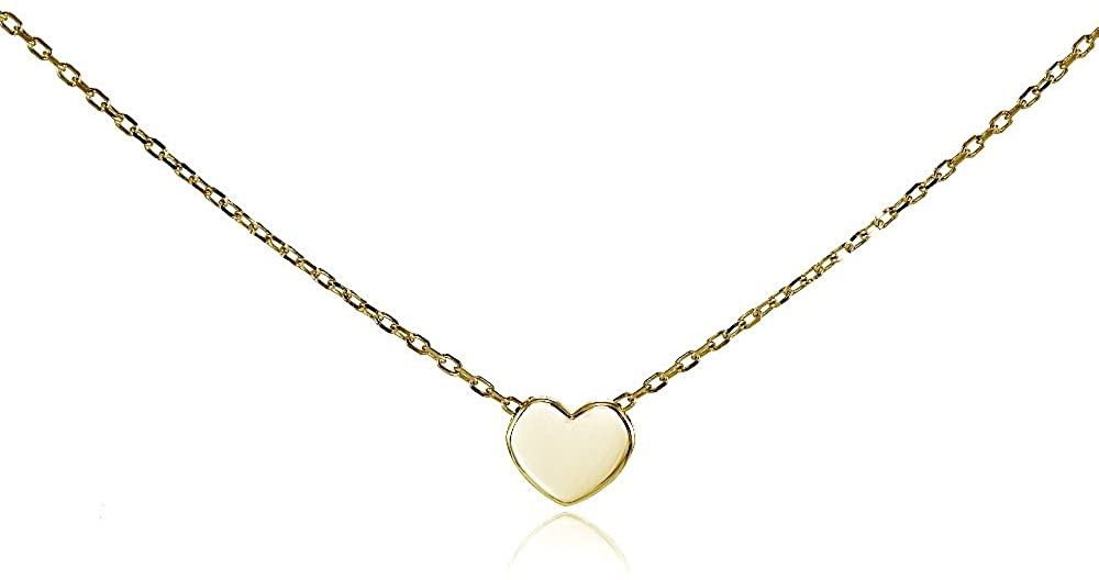 Hoops & Loops Sterling Silver Polished Heart Tiny Choker Necklace