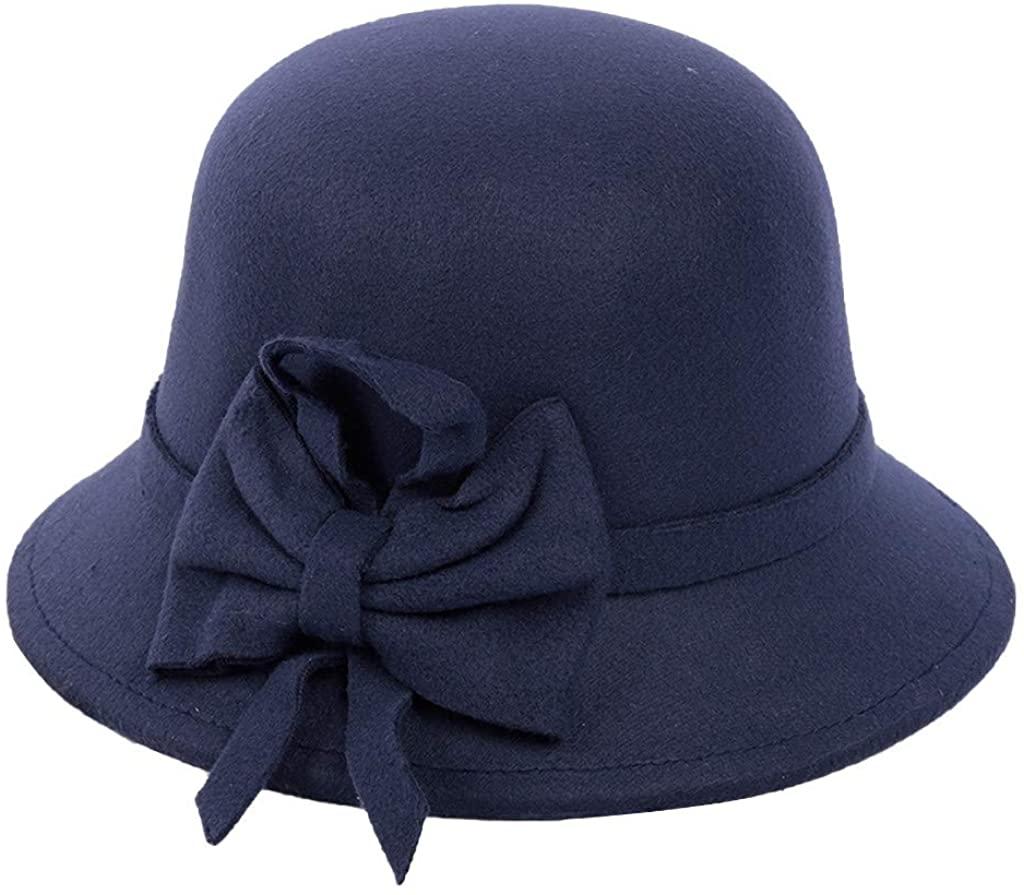 LENXH Women's Casual hat Autumn and Winter Fisherman hat Fashion hat Solid Color Visor Bow British Cap
