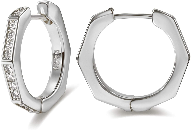 Reoxvo Geometric Octagon Hoop Huggie Earrings Cuff Stud for Women with Cubic Zirconia