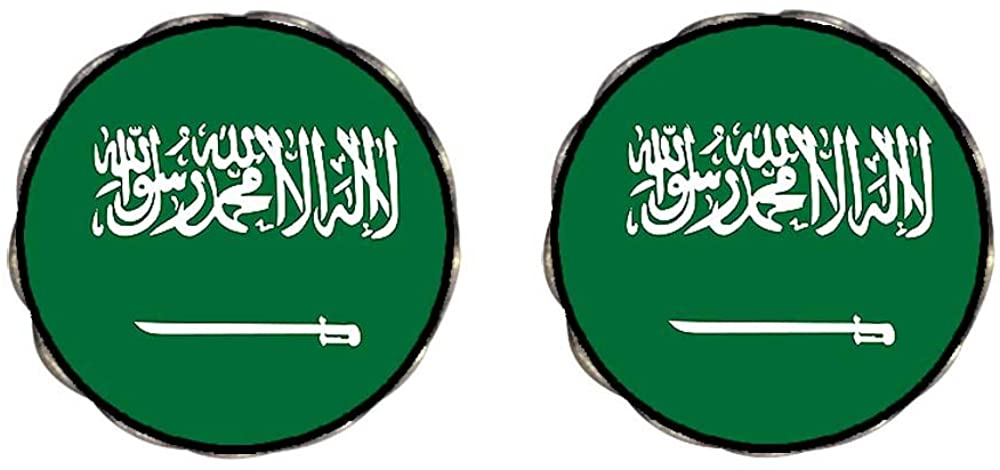 GiftJewelryShop Bronze Retro Style Saudi Arabia flag Photo Clip On Earrings Flower Earrings 12mm Diameter