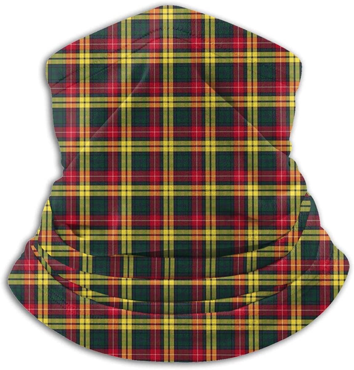 Neck Warmer Gaiter Headwear Multifunctional Head Scarf- Windproof Ski Motorcycle Mask Red Yellow And Green Buchanan Clan Tartan Printed