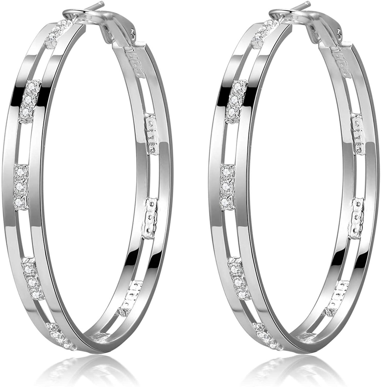 GANADARA Cubic Zirconia Hoop Earrings for Women - 14K Gold Plated 925 Sterling Silver Shiny Wide Round Hoop Earrings