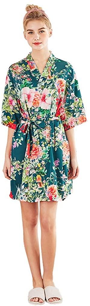 Women's Robes Kimono Satin Floral Robes for Bride Wedding Silk Robes