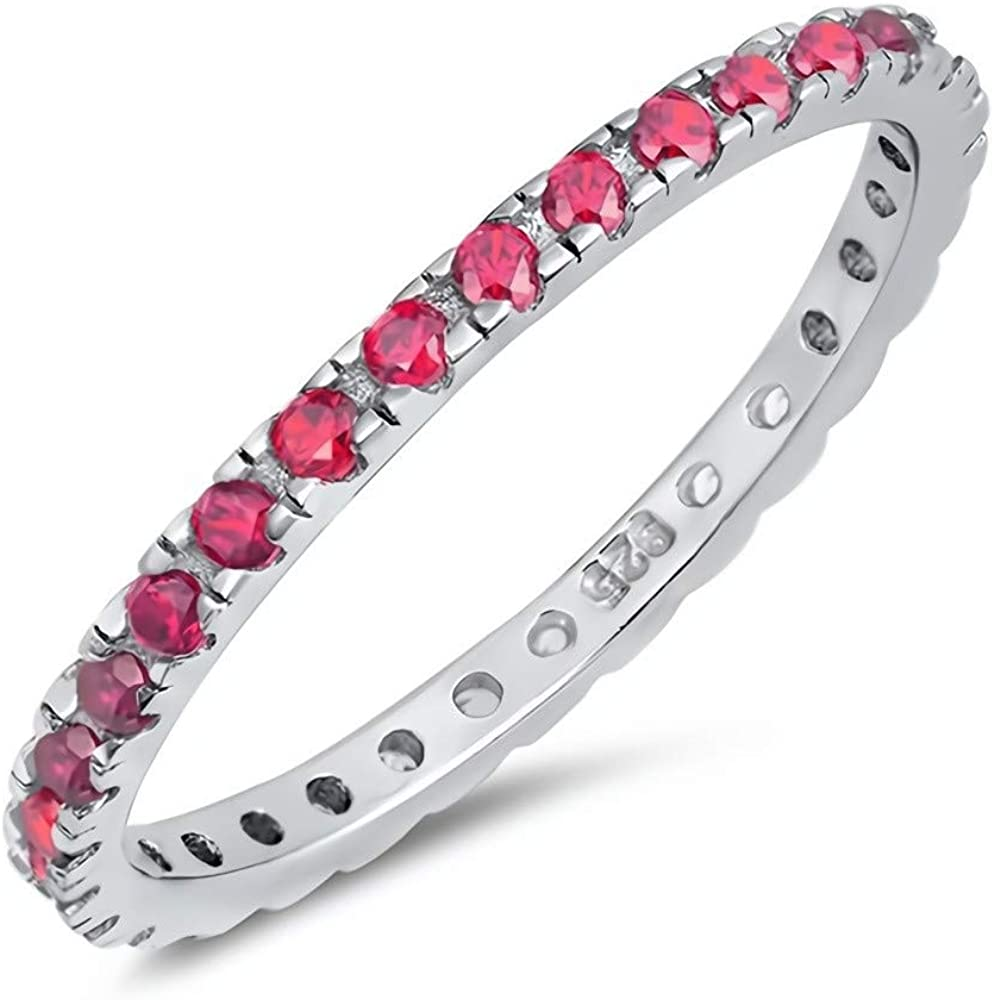 Glitzs Jewels 925 Sterling Silver Stackable Ring (Red CZ) | Jewelry Gift for Women