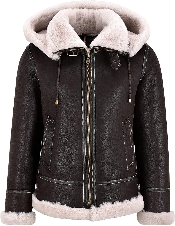 Women Sheepskin Jacket B3 Bomber Detachable Hood Classic WW2 Shearling Jacket 16118