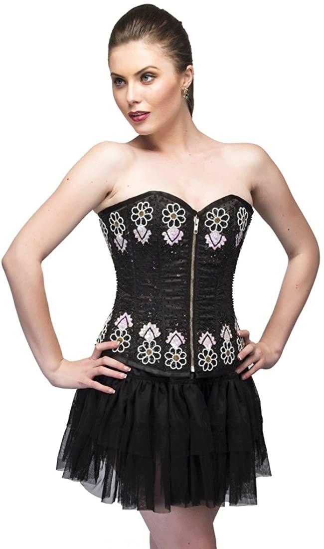 Black Satin Sequins Gothic Burlesque Waist Shaper Plus Size Overbust Corset Top