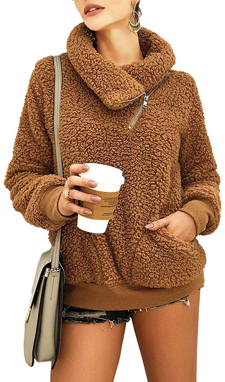 Zwirelz Womens Sherpa Pullover Soft Fuzzy Fleece Zipper Sweatshirt Jacket Sweater Winter Coat