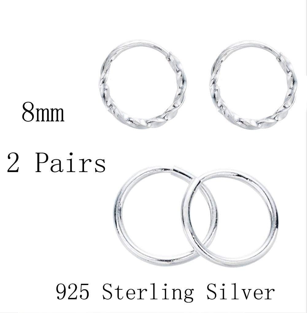 Tiny Cartilage Hoop Earrings FULLCHARM 2 Pairs Sterling Silver Mini Small Huggie Hoops Piercing Cartilage Helix Earrings for Women Cartilage Piercing Earring Jewelry (Twist)