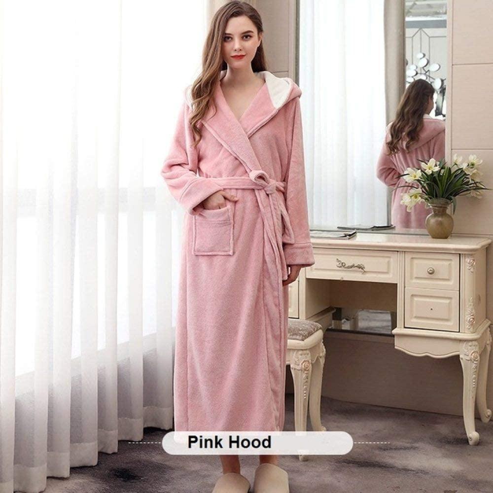 llwannr Winter Robe Lovers Coral Fleece Robe Hooded Autumn Winter Warm Sleepwear Women Men Thicken Bathrobe Lounge Nightgown Home Clothes XXXL,Pink,XL