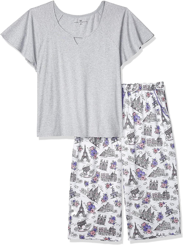 Karen Neuburger Women's Plus Size Short Sleeve Top and Capri PJ Set with Wicking Technology, Heather Grey/Paris Novelty Print Bottom, 1X