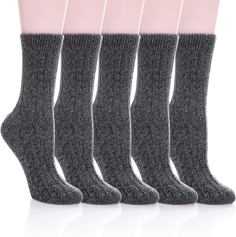 MIUBEAR 5 Pack Womens Winter Soft Warm Comfort Wool Cable Knitting Fuzzy Crew Socks
