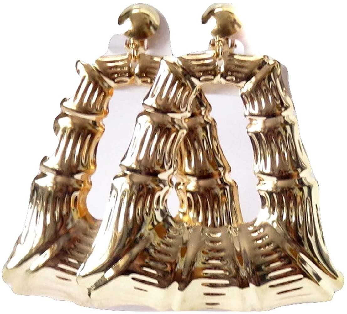 Clip on Earrings Bamboo Gold Tone Clip Earrings Square Bamboo Earrings