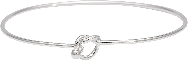 Silverly Women's .925 Sterling Silver Friendship Love Knot Bangle Bracelet