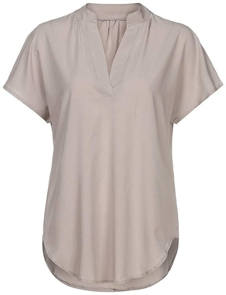 YOCheerful Ladies Summer Tops Chiffon Solid Short Sleeve Casual Shirt Loose Elegant Flowy Tops