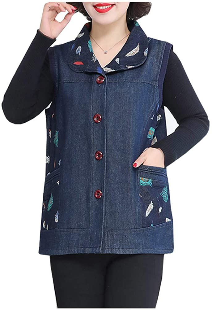 SCOFEEL Women's Embroidered Denim Vest Jean Jacket Lapel Sleeveless Button Up Waistcoat